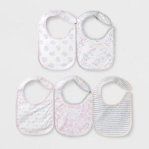 Cloud Island Baby Bibs - 5 Pack Pink Gray White